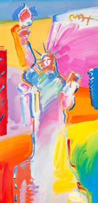 Peter Max (American, b. 1937) Statue of Liberty Color lithograph with acrylic painting and mixed med