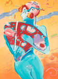 Fine Art - Work on Paper:Print, Peter Max (American, b. 1937). Blue Fan Dancer, 1988.Screenprint with mixed media on paper. 40 x 29-3/4 inches (101.6x...