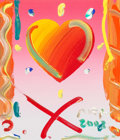 Fine Art - Painting, American:Contemporary   (1950 to present)  , Peter Max (American, b. 1937). Heart, 2003. Acrylic oncanvas with hand-painted mat accent. 29-1/4 x 27-1/4 inches(74.3...