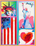 Fine Art - Painting, American:Contemporary   (1950 to present)  , Peter Max (American, b. 1937). Patriotic Series: Two Liberties,Flag and Heart, 2006. Color lithograph with acrylic and ...