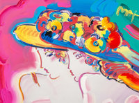 Peter Max (American, b. 1937) Friends, 2001 Color lithograph with acrylic and mixed media painting o