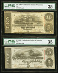 Confederate Notes:1864 Issues, T59 $10 1863 PF-35 Cr. 444;. T60 $5 1863 PF-24 Cr. 462.. ... (Total: 2 notes)