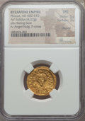 Ancients:Byzantine, Ancients: Phocas (602-610). AV solidus (4.27 gm). NGC MS 5/5 - 3/5,clipped....