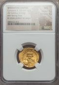 Ancients:Byzantine, Ancients: Constans II (AD 641-668). AV solidus (4.43 gm). NGC MS5/5 - 4/5. ...