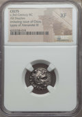 Ancients:Celtic, Ancients: EASTERN CELTS. Imitating Chian issue of Alexander III(336-323 BC). AR drachm. NGC XF....