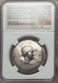 Ancients:Celtic, Ancients: EASTERN CELTS. Imitating issue of Roman Protectorate (ca.167-149 BC). AR tetradrachm (16.74 gm). NGC MS 4/5 - 5/5....