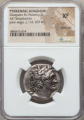 Ancients:Greek, Ancients: PTOLEMAIC EGYPT. Cleopatra III and Ptolemy IX Soter II(116/5-107 BC). AR tetradrachm. NGC XF, scratches....