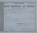 Miscellaneous, Public Debt of the Late Republic of Texas Certificate....