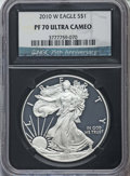 Modern Bullion Coins, 2010-W $1 Silver Eagle PR70 Ultra Cameo NGC. NGC 25th Anniversary Holder. NGC Census: (6991). PCGS Population: (2929)....