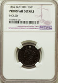 Proof Half Cents, 1852 1/2 C First Restrike, Small Berries, B-2, R.4 -- Holed -- NGC Details. Proof, AU....