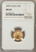 Modern Bullion Coins, 2007 $5 Tenth-Ounce Gold Eagle MS69 NGC. NGC Census: (2555/2208). PCGS Population: (275/30). ...