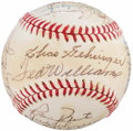 Autographs:Baseballs, Hall of Fame Multi Signed Baseball With 24 Signatures IncludingGehringer, Williams, and Cronin. ...