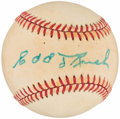 Autographs:Baseballs, Edd Roush Single Signed Baseball. ...