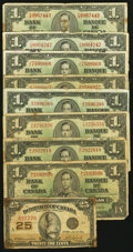 Canadian Currency: , A Well Circulated Group of Canadian Notes.. ... (Total: 9 notes)