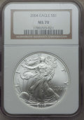 Modern Bullion Coins: , 2004 $1 Silver Eagle MS70 NGC. NGC Census: (2676). PCGS Population: (1102). ...