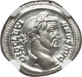 Ancients:Roman Imperial, Ancients: Diocletian (AD 284-305). AR argenteus (3.59 gm). NGC MS4/5 - 5/5....