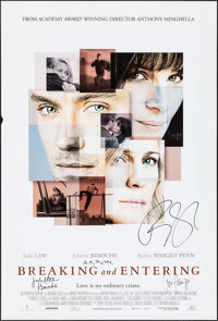 "Breaking and Entering (Weinstein, 2006). Autographed One Sheet (27"" X 40"") SS. Drama"