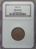 Two Cent Pieces: , 1868 2C MS64 Brown NGC. NGC Census: (67/38). PCGS Population: (56/7). CDN: $160 Whsle. Bid for problem-free NGC/PCGS MS64. ...
