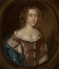 Fine Art - Painting, European:Antique  (Pre 1900), British School . Portrait of Lady at half-length in lavenderdress and pearls in her hair. Oil on canvas. 25 x 29-1/2 in...