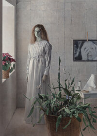 Kent Bellows (American, 1949-2005) Rachel in White, 1988 Pencil and acrylic on panel 36 x 26 inch