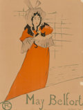 Fine Art - Work on Paper:Print, Henri de Toulouse-Lautrec (French, 1864-1901). May Belfort,1895. Lithograph in colors. 31-1/4 x 24 inches (79.4 x 61.0 ...