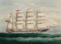 Fine Art - Painting, European:Antique  (Pre 1900), British School (19th Century). A Four-masted Ship in Full Sail,possibly Liverpool II. Oil on canvas. 18 x 24 inches (45...