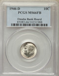 Roosevelt Dimes, 1946-D 10C MS66 Full Bands PCGS. Ex: Omaha Bank Hoard. PCGS Population: (793/104). NGC Census: (356/146). Mintage 61,043,5...