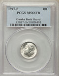 Roosevelt Dimes, 1947-S 10C MS66 Full Bands PCGS. Ex: Omaha Bank Hoard. PCGS Population: (146/57). NGC Census: (83/63). Mintage 34,840,000....