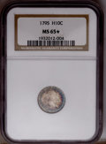 "Early Half Dimes: , 1795 H10C MS65 NGC."" ★ "" NGC Census: (7/12). PCGS Population(8/9).Mintage: 78,600. Numismedia..."