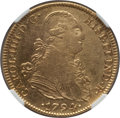 Mexico, Mexico: Charles IV gold 4 Escudos 1794/3 Mo-FM XF Details (SurfaceHairlines) NGC,...