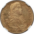 Mexico, Mexico: Ferdinand VII gold 8 Escudos 1808 Mo-TH AU Details (HarshlyCleaned) NGC,...