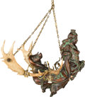 Paintings, A German Carved Walnut and Antler Lusterweibchen Four Light Chandelier, early 20th century. 38 h x 27 w x 28 d inches (96.5 ...
