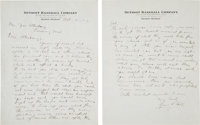 1922 Ty Cobb Handwritten Signed Two-Page Letter