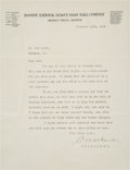 Baseball Collectibles:Others, 1924 Christy Mathewson Signed Letter....