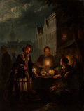 Paintings, Belgian School (19th Century). The Marketplace at Night. Oil on canvas. 26 x 20-1/2 inches (66.0 x 52.1 cm). ...