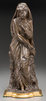 After Thomas Nelson Maclean (British, 1845-1894) Madonna Expectant Patinated and gilt bronze 17-3