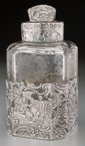 Silver Holloware, Continental, A Wolf & Knell Hanau Silver and Acid-Etched Glass Tea Caddy,circa 1887-1914. Marks: (G-crown), (quatrefoil). 6 inches high ...