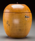 Decorative Arts, British:Other , A George III Fruitwood Apple-Form Tea Caddy, early 19th century.4-7/8 inches high (12.4 cm). ...