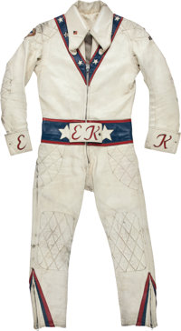 1972-73 Evel Knievel Motorcycle Leathers Worn in Multiple Performances