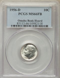Roosevelt Dimes, 1956-D 10C MS66 Full Bands PCGS. Ex: Omaha Bank Hoard. PCGS Population: (439/18). NGC Census: (150/51). Mintage 108,000,00...