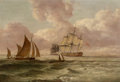 Fine Art - Painting, American:Antique  (Pre 1900), British School (19th Century). Through the Shipping Lanes.Oil on panel. 12-1/4 x 18-1/4 inches (31.1 x 46.4 cm). ...