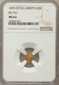 California Fractional Gold , 1870 25C Liberty Head Octagonal 25 Cents, BG-761, R.4, MS62 NGC.NGC Census: (4/0). PCGS Population: (23/14). ...