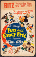 "Movie Posters:Animation, Fun and Fancy Free (RKO, 1947). Window Card (14"" X 22"").Animation.. ..."