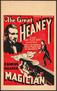 "The Great Heaney (1930s). Window Card (14"" X 22.5""). Miscellaneous"
