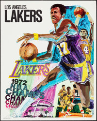 """Los Angeles Lakers NBA Champs (ProMotions Inc., 1972). Posters (3) Identical (23"""" X 29""""). Sports. ... (Total:..."""