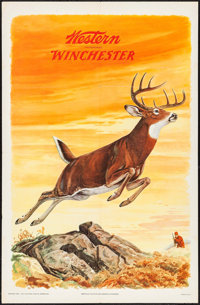 "Western Winchester - Deer by J.G. Woods (Olin Mathieson Chemical Corporation, 1955). Advertising Poster (26"" X 39.5..."
