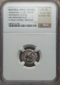 Ancients:Greek, Ancients: INDO-GREEK KINGDOMS. Antialcidas (ca. 130-120 BC).AR Indic drachm (2.37 gm). NGC Choice VF 5/5 - 4/5....