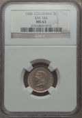 Colombia, Colombia: Republic 5 Centavos 1886 MS63 NGC,...