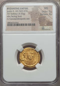 Ancients:Byzantine, Ancients: Justin II (565-578). AV solidus (4.50 gm). NGC MS 5/5 -4/5....