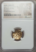 Ancients:Celtic, Ancients: NORTHEAST GAUL. Ambiani. Ca. 58-55 BC. AV stater (6.30gm). NGC MS 4/5 - 4/5....